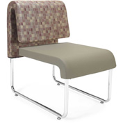 Uno Lounge Chair - Plum Fabric Back & Taupe Leatherette Seat - Pkg Qty 2