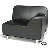 OFM Serenity Series Left Arm Lounge Chair with Electrical Outlet Black w/ Tungsten Tablet