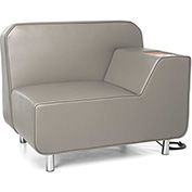 OFM Serenity Series Left Arm Lounge Chair with Electrical Outlet Taupe w/ Bronze Tablet