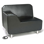 OFM Serenity Series Right Arm Lounge Chair with Electrical Outlet Black w/ Tungsten Tablet
