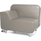 OFM Serenity Series Right Arm Lounge Chair with Electrical Outlet Taupe w/ Bronze Tablet