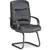 OFM Guest Chair - Synthetic Leather - Mid Back - Black - Encore Series