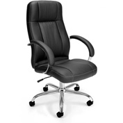 OFM Stimulus Series Leatherette Executive High Back Chair with Arms, Black