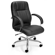 OFM Executive Office Chair with Arms - Synthetic Leather - Mid Back - Black - Stimulus Series