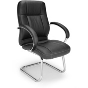 OFM Executive Guest Chair with Arms - Synthetic Leather - Mid Back - Black - Stimulus Series
