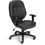 OFM Stimulus Series Leatherette Executive Mid-Back Chair with Adjustable Arms, Black
