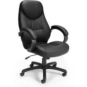 OFM Executive Office Chair with Arms - Synthetic Leather - High Back - Black - Stimulus Series