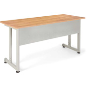 "Modular Training/Utility Table 55""Wx24""D - Maple & Silver"
