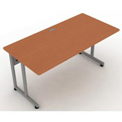 "Modular Desk/Worktable 30""Dx60""W - Cherry & Silver"