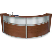 "OFM Reception Desk - 2 Unit with Window - 124""W - Cherry - Marque Series"