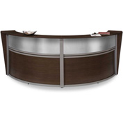 "OFM Reception Desk - 2 Unit with Window - 124""W - Walnut - Marque Series"