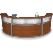 "OFM Reception Desk - 3 Unit with Window - 143""W - Cherry - Marque Series"
