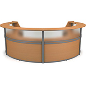 "OFM Reception Desk - 4 Unit with Window - 142""W - Maple - Marque Series"