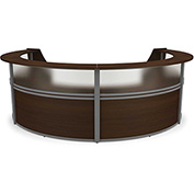"OFM Reception Desk - 4 Unit with Window - 142""W - Walnut - Marque Series"