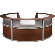 "OFM Reception Desk - 5 Unit with Window - 142""W - Walnut - Marque Series"