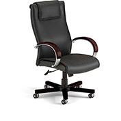 OFM Apex Executive High-Back Leather Chair - Black/Mahogany