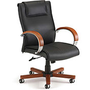OFM Apex Executive Mid-Back Leather Chair - Black/Cherry