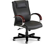 OFM Apex Executive Mid-Back Leather Chair - Black/Mahogany