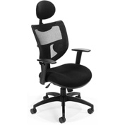 OFM Mesh Back Office Chair with Headrest - Fabric - Mid Back - Black - Parker Ridge Series