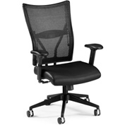OFM Executive Office Chair with Arms - Leather - Mid Back - Black - Talisto Series