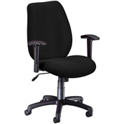 OFM Manager's Office Chair with Arms - Fabric - Mid Back - Ebony