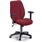 OFM Manager's Office Chair with Arms - Fabric - Mid Back - Burgundy