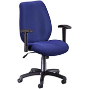 OFM Manager's Office Chair with Arms - Fabric - Mid Back - Ocean Blue