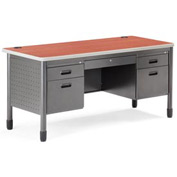 "OFM Metal Desk - 28""D x 59-1/4""W - Cherry - Mesa Series"