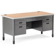 "OFM Metal Desk - 28""D x 59-1/4""W - Maple - Mesa Series"