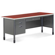 "OFM Steel Desk with Pencil Drawer - Single Left Pedestal - 30""D x 67""W - Cherry - Mesa Series"