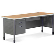 "OFM Steel Desk with Pencil Drawer - Single Left Pedestal - 30""D x 67""W - Oak - Mesa Series"