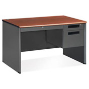 "OFM Steel Desk with Drawer - Single Right Pedestal - 30""D x 48""W - Cherry - Executive Series"