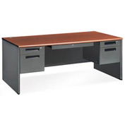 "OFM Steel Desk with Drawer - Double Pedestal - 36""D x 72""W - Cherry - Executive Series"