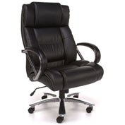 OFM Big and Tall Office Chair with Arms - Leather - High Back - Black - Avenger Series