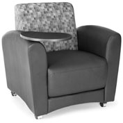 OFM Guest Chair with Tablet Arms - Black Seat/Nickel Back with Tungston Table - Interplay Series