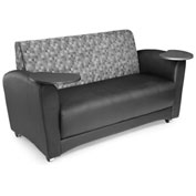 Interplay Double Tablet Sofa Nickel Back, Black Seat, Tungsten Tablet