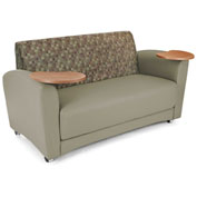 Interplay Double Tablet Sofa Plum Back, Taupe Seat, Bronze Tablet