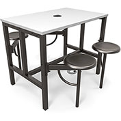 "OFM Standing Height Table - 47-3/4"" x 31-1/4"" x 38""H - Dry Erase Top with 4 Attached Gray Seats"