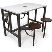 "OFM Standing Height Table - 47-3/4"" x 31-1/4"" x 38""H - Dry Erase Top with 4 Attached Walnut Seats"