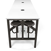OFM Endure Series Standing Height White Dry-Erase Top Table with 8 Attached Gray Seats