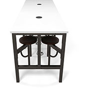 OFM Endure Series Standing Height White Dry-Erase Top Table with 8 Attached Walnut Seats