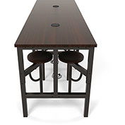 OFM Endure Series Standing Height Walnut Table with 8 Attached Walnut Seats