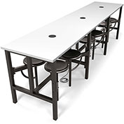 "OFM Standing Height Table - 143"" x 31-1/4"" x 38""H - Dry Erase Top with 12 Attached Gray Seats"