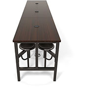 OFM Endure Series Standing Height Walnut Table with 12 Attached Gray Seats
