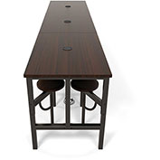 "OFM Standing Height Table - 143"" x 31-1/4"" x 38""H - Walnut with 12 Attached Walnut Seats"