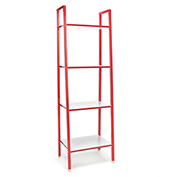 OFM 4-Shelf Office Bookshelf - White with Red Steel Frame - Essentials Series