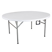 OFM 5' Round Plastic Fold-in-Half Table - White - Essentials Series