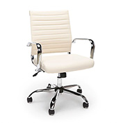 OFM Ribbed Leather Executive Office Chair - Ivory - Essentials Series