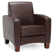 OFM Traditional Reception Arm Chair - Faux Leather - Brown - Essentials Series