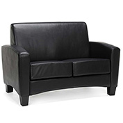 OFM Traditional Reception Loveseat - Faux Leather - Black - Essentials Series